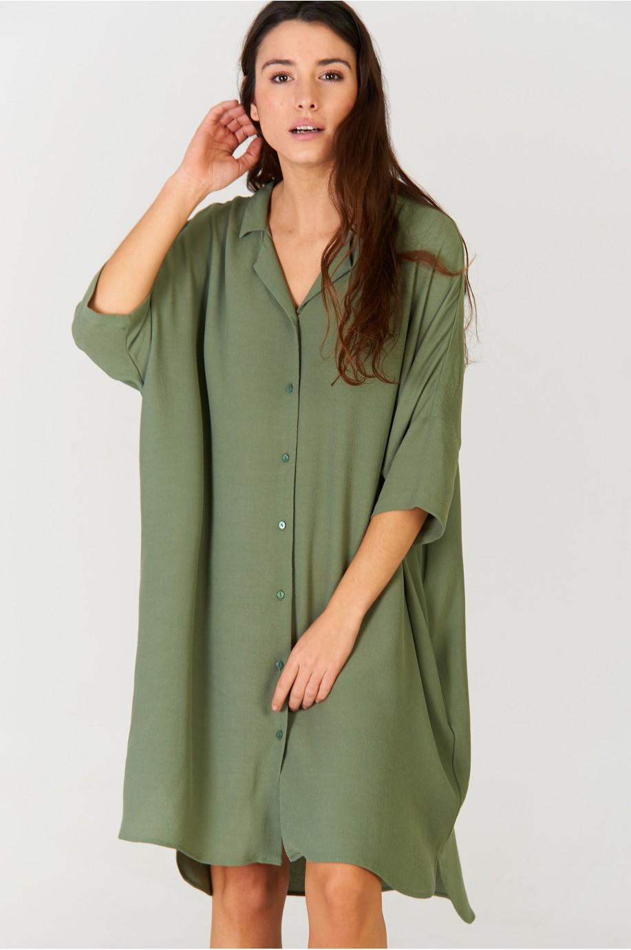 Vestido camisero Khaki