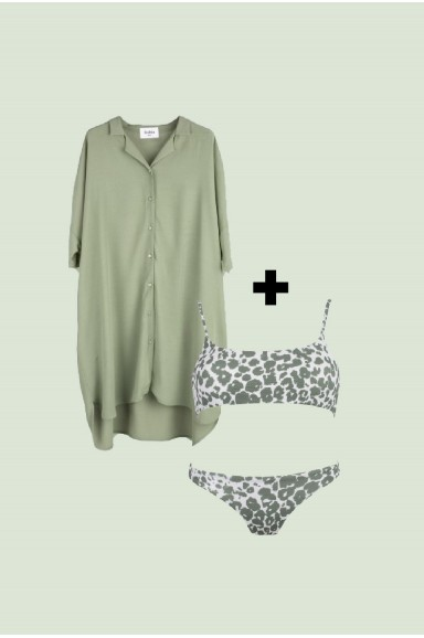 PACK: BIKINI SOFT SAFARI + VESTIDO CAMISERO KHAKI