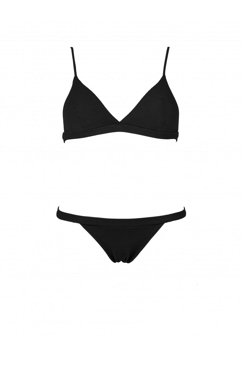 All Black Pique Sporty Bikini