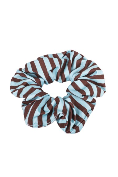 Brown and Blue Striped Hair Tie